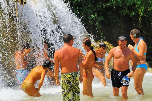 Visitors enjoying Dunn's River Falls